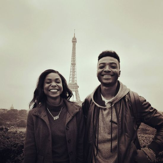 Smile Fiendship Effel Tower Paris Monochrome Photography Art ArtWork