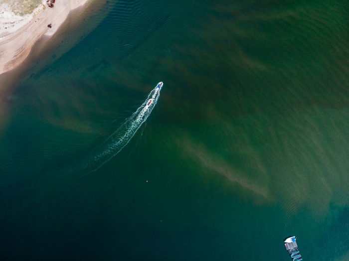 High angle view of a boat in sea