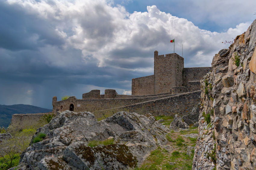 castelo de marvão Ancient Ancient Civilization Architecture Building Building Exterior Built Structure Cloud - Sky Day Flag Fort History Low Angle View Mountain Nature Old Outdoors Sky Solid Stone Wall The Past Tourism Travel Travel Destinations