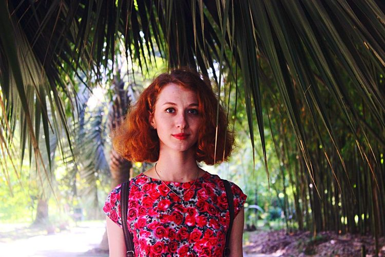 Nature Plant One Woman Only One Person Redhead Beautiful Woman Looking At Camera Young Adult Red Palm Tree