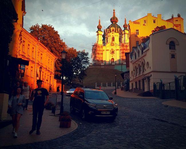 Kyiv, Ukraine Kyiv Evening Sunrises Sunset Street Buildings Church City Architecture Light Barocco