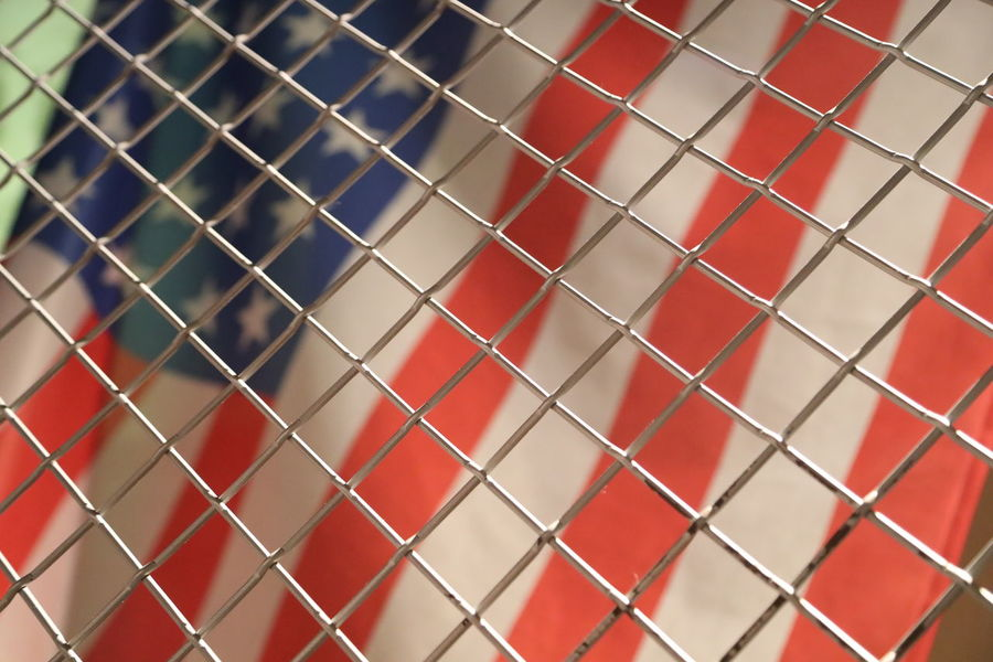 Backgrounds Close-up Fence Freedom Good Bye Full Frame Locked In No People On The Other Side On The Other Side Of The Fence Pattern Protection Stars And Stripes Flag US Flag