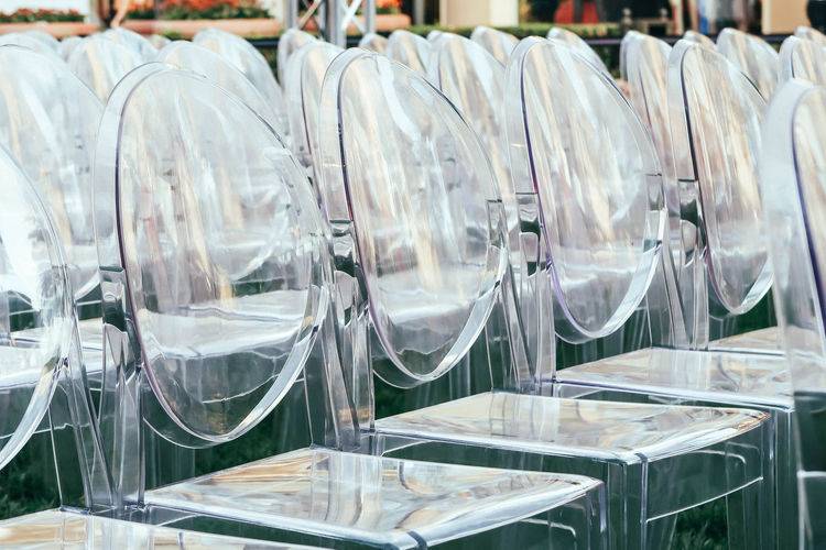 Plastic chairs arranged at event