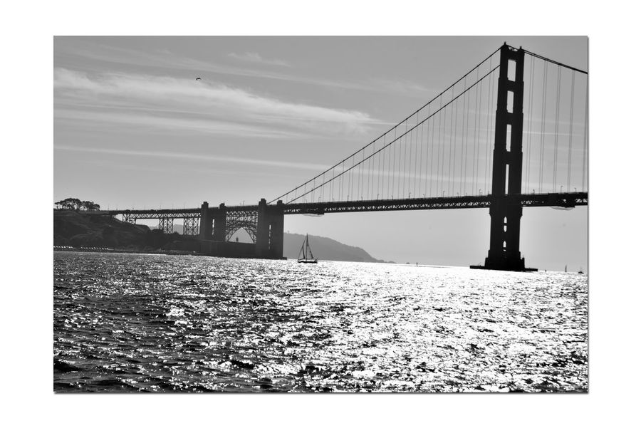 Golden Gate Bridge From Aboard The Alma 1 The Alma 80ft Scow Schooner Wooden-hulled Flat-bottomed Built 1869 San Francisco Bay Golden Gate Bridge San Francisco To Sausalito Bnw_friday_eyeemchallenge Bnw_bridge Architecture Architecture_collection Sailing Monochrome_Photography Monochrome Black & White Black & White Photography Black And White Black And White Collection  Landscape_Collection Landscape_photography Bridge Arch Fort Point Lighthouse Sailboats⛵️️
