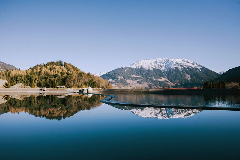 Reflection Of Mountains On Calm Lake Against Clear Blue Sky