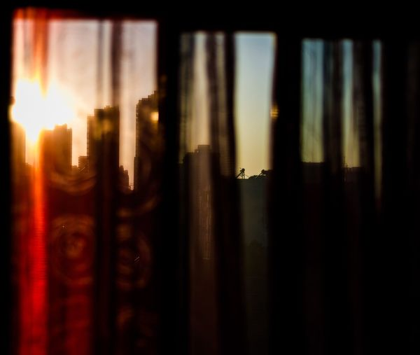 The long-lost light shone through the curtains Window No People Indoors  Sky Sunset Close-up Architecture Nature Day City