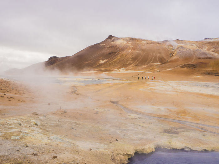 Scenic view of steam over landscape