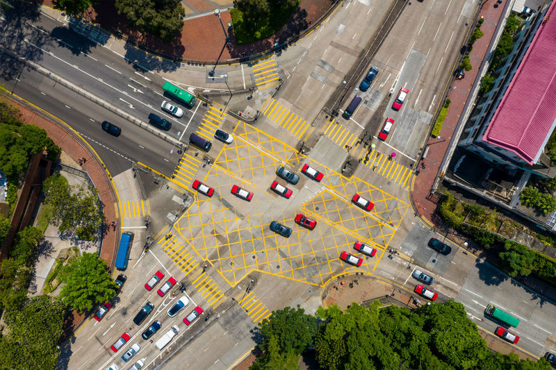 Aerial view of traffic on city street