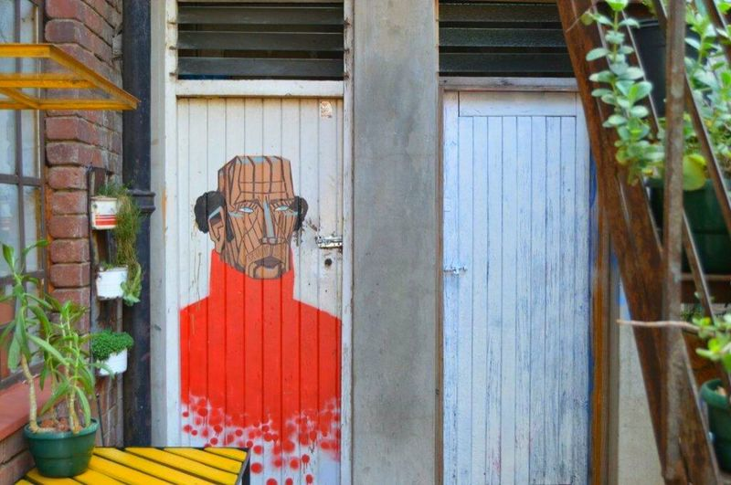 Door Outdoors No People Building Exterior Day Built Structure Architecture Corrugated Iron Close-up Scarecrow