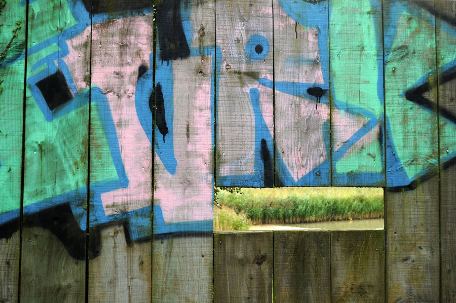 Backgrounds Bird Hide Blue Close-up Day Full Frame Grafitti Green Color Multi Colored No People Reeds, Weeds, Marshland, Marsh, Slot Spoiling The View Viewing Platform Weathered Wood - Material Wooden Art Is Everywhere Perspectives On Nature