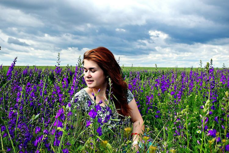 Flower Field Purple Summer Beauty Plant Nature Agriculture Lavender Beauty In Nature Growth Lavender Colored Adult Poppy Outdoors Cloud - Sky One Person Blossom Redhead Landscape