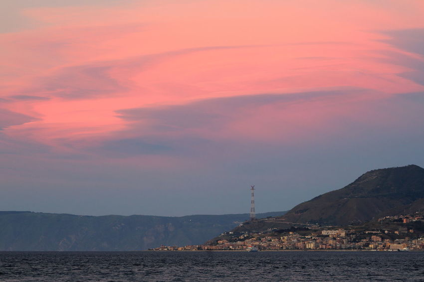Architecture Beauty In Nature Built Structure Calabria Cloud - Sky Colline Costa Electricity Pylon Hills Mare Messina Mountain Nature Nautical Vessel Nave No People Nube Lenticolare Outdoors Pilone Sea Stretto Di Messina Sunset Tramonto Tranquil Scene Water