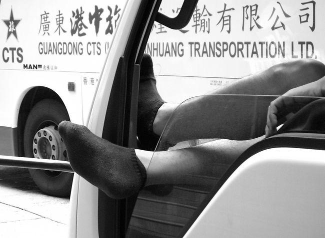 Black Socks Blackandwhite Photography Break Bus Car City Buzz Day Feet Feet Out Of Window HongKong Hongkong Photos Human Body Part Lasy Lasyness Leisure Activity Tranquil Scene Transportation Window Shield TCPM