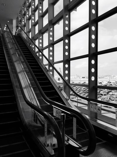Railing Architecture Built Structure Transportation Indoors  Staircase No People Day Connection Bnw City Sky