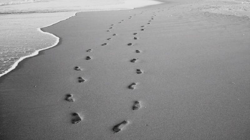 Plage Traces Pas Sable Ocean Blackandwhite Eyem Best Shots Shades Of Grey Protecting Where We Play Capture The Moment Feel The Journey The Great Outdoors - 2017 EyeEm Awards