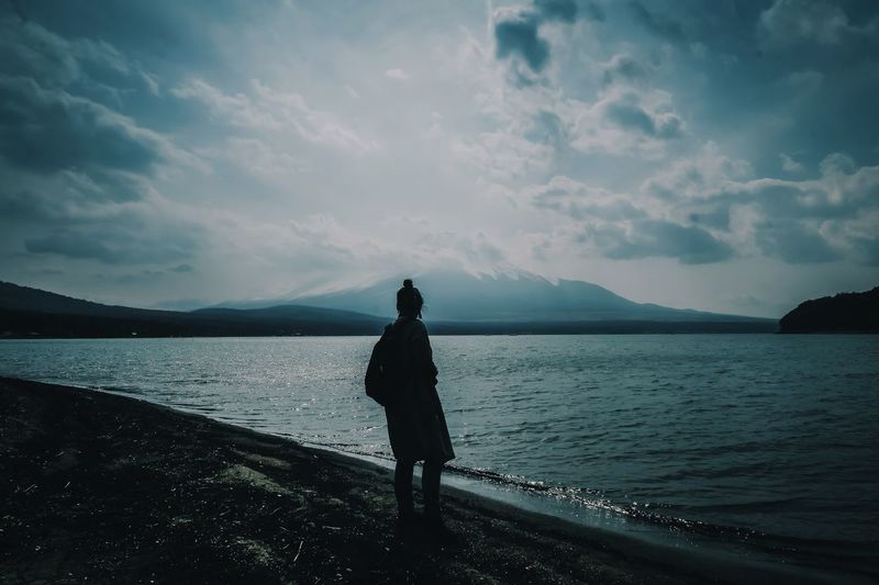 Japan Mt.Fuji Water Sky Cloud - Sky Real People One Person Sea Beauty In Nature Nature Standing Land Scenics - Nature Leisure Activity Mountain Tranquil Scene Lifestyles Outdoors Beach Full Length Day