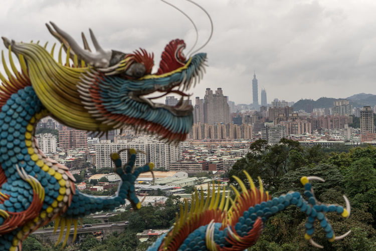 Animal Representation Architecture Art And Craft ASIA Building Exterior Chinese Dragon Cityscape Cloud - Sky Day Dragon Dragon Formosa New Taipei City No People Sculpture Statue Statue Taipei Taipei,Taiwan Taiwan Taiwanese Temple Templebuliding Travelphotography View