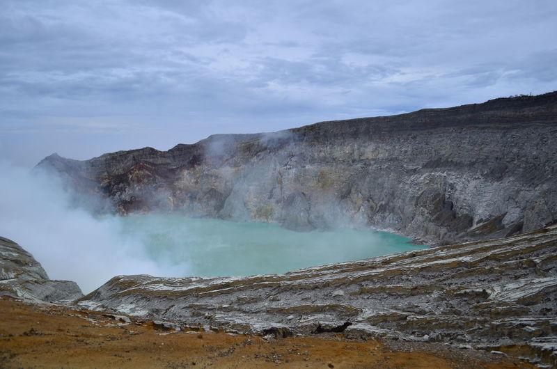 The Ijen crater lake Ijen Crater Crater Lake Crater Ijen Kawah Ijen Volcano INDONESIA Traveling Backpacking