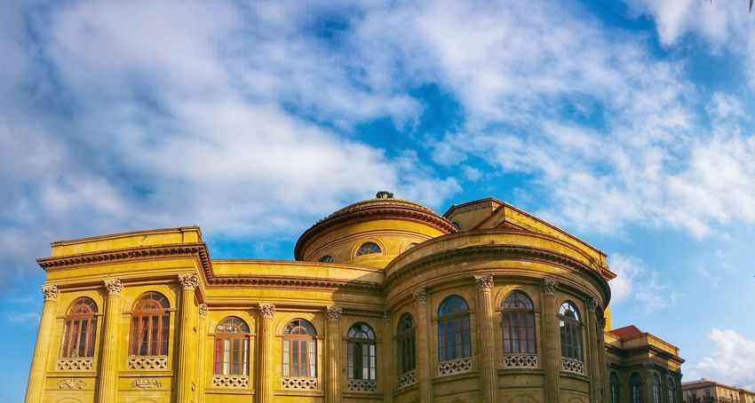 Teatro Massimo Palermo Sicily Italy Travel Photography Travel Voyage Traveling Mobile Photography Fine Art Panoramic Views Neoclassical Architecture Theatres  Sky And Clouds Giallo A Palermo Tutti I Particolari In Cronaca Palermo Mellow Yellow