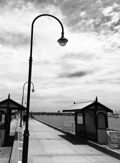 St Kilda Pier Black And White Sky Built Structure Transportation Cloud - Sky Street Light Architecture Outdoors No People Day