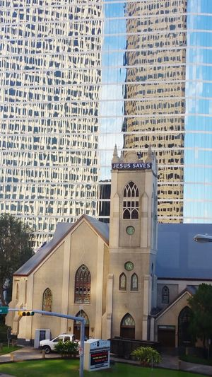 New and old. Reflections Architecture Built Structure Building Exterior No People City Modern Place Of Worship Outdoors Sky Photography New And Old Eyemphotography Popular Photos Looking Up Houston Texas Embrace Urban Life