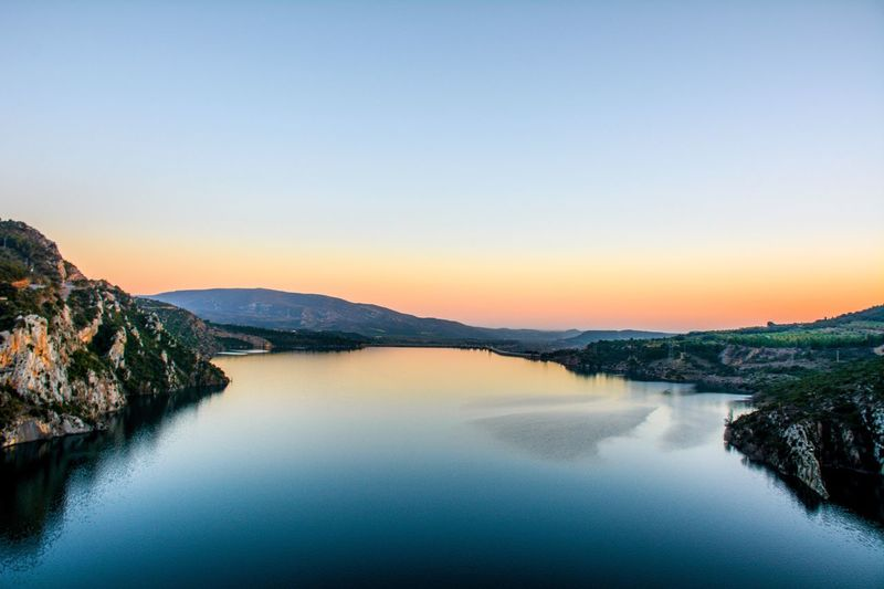 Copy Space Mountain Scenics Tranquil Scene Nature Beauty In Nature Water Clear Sky Tranquility No People Sunset River Landscape Waterfront Mountain Range Outdoors Blue Sky Day SPAIN Huesca Aragón Sommergefühle EyeEm Selects