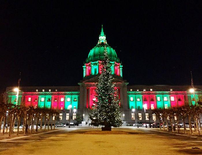 Illuminated Building Exterior Architecture Christmas