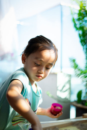 Cute girl playing