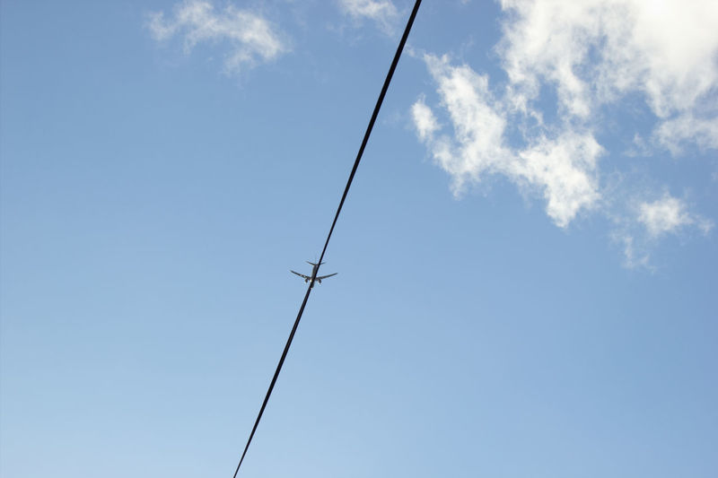 following the flight plan Plane Aircraft Aircraft In The Sky Flying Blue Telephone Line Sky Cloud - Sky Fly