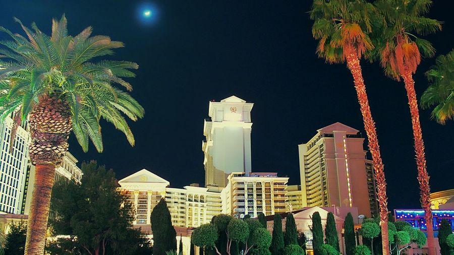 L.V  Resort Hotel Night Lights Moonlight Las Vegas 43 Golden Moments Journey Is The Destination