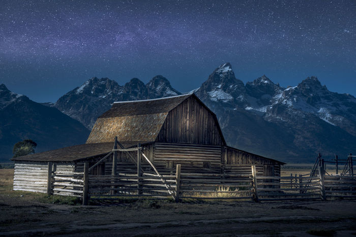 Lightpainting of barn on the grand tetons Grand Teton National Park  Grand Tetons Lightpainting Lightpainting_photography Lightpaintingphotography