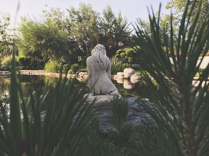 Sculpture By Pond Amidst Trees In Park