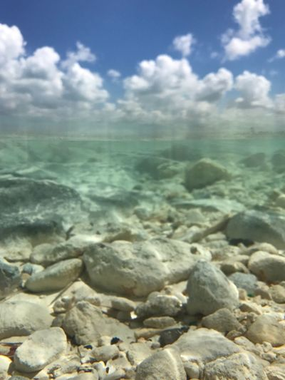 Sea dreams Bahamas Underwater 50/50 Horizon Over Water Cloud - Sky Ocean Sky Sea Water Weather Tranquil Scene Beach Clouds And Sky Clouds Been There.