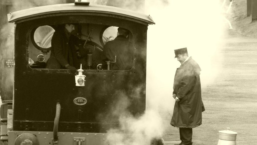 Letting off some steam. #steam Train #EyeEmNewHere #eyembestshot #outdoor #History #countryside #countydurham #photography #England #blackandwhite Only Men Adults Only Adult Rear View People Men Standing Real People Outdoors