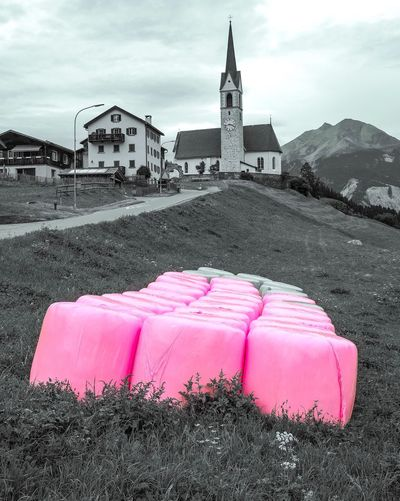 Like giant marshmallows Life Is Not As Serious As It Seems Curiousmoments Fineartphotography Selective Color Pink Color Hay Bales Olympus OM-D EM-1 July 2016 Summer Memories Graubünden Salouf Switzerland Marshmallows Wrapped Up