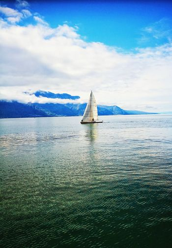 Sea Cloud - Sky Sky Water Day Sailboat Outdoors No People Transportation Sailing Nature Tranquility Blue Scenics Sailing Ship Horizon Over Water Architecture Tall Ship Nature