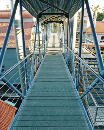 Blue Connection Metal The Way Forward Railing Bridge - Man Made Structure Built_Structure Architecture Steps And Staircases No People Day Outdoors Modern Let's Go. Together.