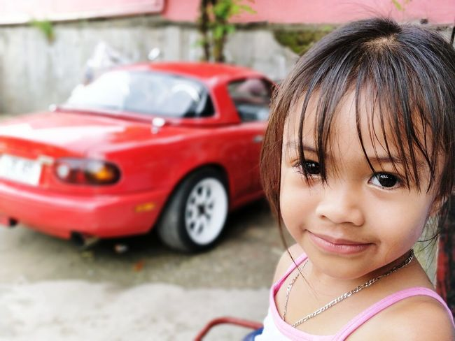 Mazda MX-5 1997 Miata MiataLife Topmiata Mx5 EyeEm Selects Portrait Child Looking At Camera Children Only Childhood Girls Car One Person One Girl Only Smiling Outdoors Headshot Day Red People Close-up