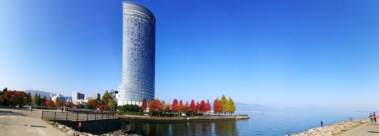 Japan Lake Biwa Clear Sky Blue Sky Panoramic Photography Autumn🍁🍁🍁 Ilovejapan