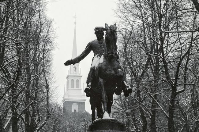 Revere American Flag Boston Boston, Massachusetts New England  Old North Church Old North Church Boston Paul Revere America Blackandwhite History Low Angle View Outdoors Revolutionary War Snow Statue