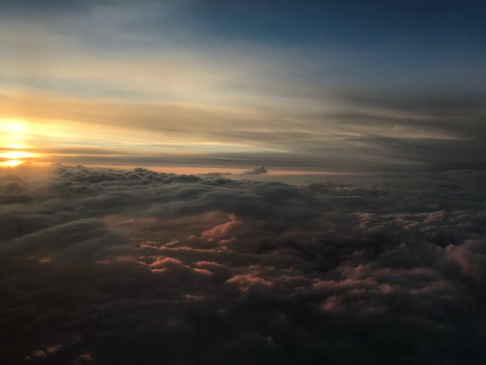 Cloud - Sky Sky Scenics - Nature Sunset Beauty In Nature Tranquility Tranquil Scene Meteorology Landscape Aerial View Cloudscape Outdoors Sun Nature No People Dramatic Sky Sunbeam Environment Orange Color Idyllic