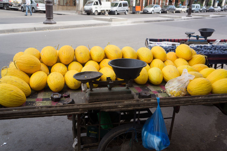 Melons, Medina, Fes,Morocco Abundance Arrangement Bench Day Food Food And Drink Freshness Fruit Group Of Objects Healthy Eating Large Group Of Objects Melon Melons Transportation Yellow