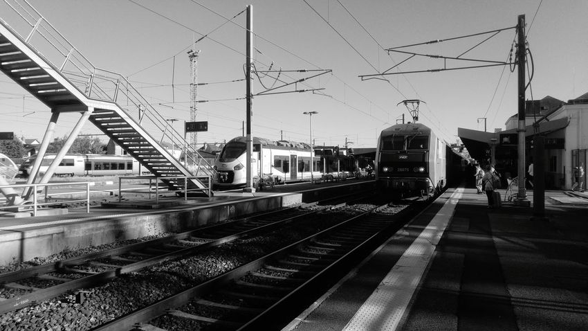 Railroad Track Rail Transportation Transportation Train - Vehicle Railroad Station Public Transportation Sky Mode Of Transport Railroad Station Platform Arrival Outdoors City Day Modern Architecture Blackandwhite Black And White Black & White Your Ticket To Europe