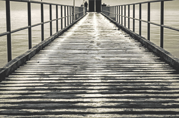 The Way Forward Railing Day Outdoors No People From My Point Of View Sea Water Tranquil Scene Silence Winter Capture The Moment EyeEm Best Shots Vanishing Point Landing Stage Wood Alone Bnw Blackandwhite Black And White Monochrome Monochrome Photography Cold Light And Shadow