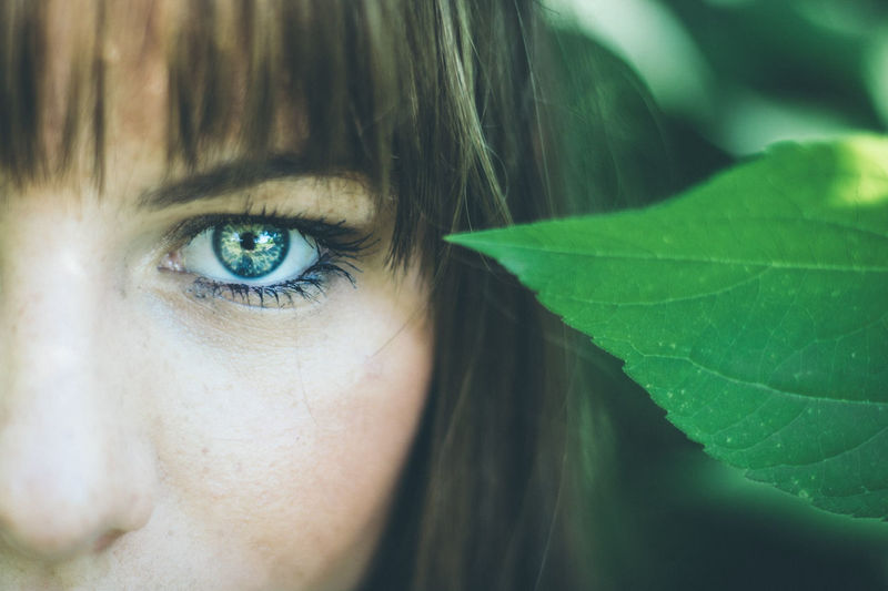 Human Eye Only Women One Woman Only Leaf Human Body Part One Person Portrait Beauty Close-up Beautiful Woman One Young Woman Only Adult Adults Only Blue Eyes Human Face People Looking At Camera Beautiful People Young Adult Day Vibrant Green Color Color BestofEyeEm Plant