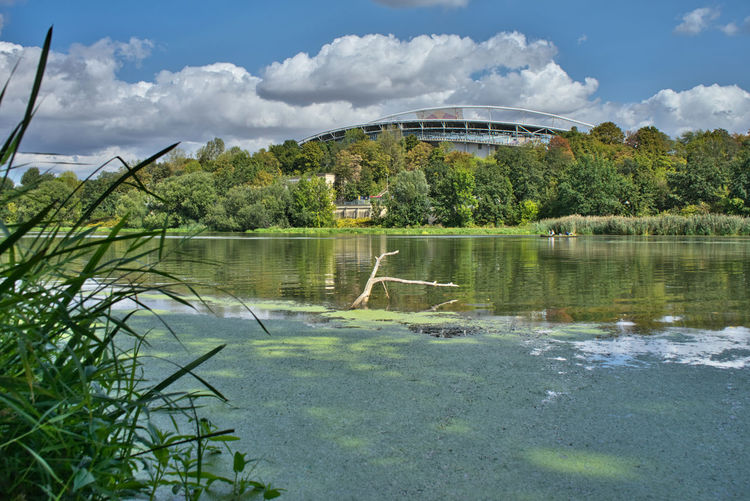 Leipzig Rasenballsport Leipzig Zentralstadion Auenwald Beauty In Nature Cloud - Sky Elsterbecken Green Color Growth Nature Outdoors Plant Rb Leipzig Red Bull Arena Scenics - Nature Stadion Tranquil Scene Tranquility Tree Water