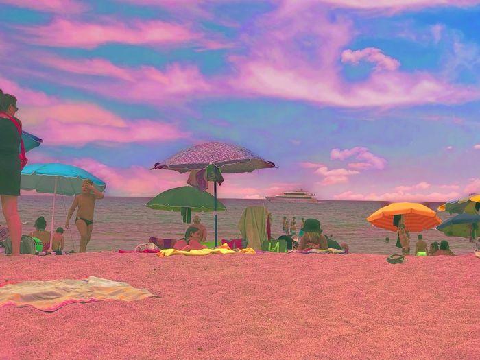 Summer Sky Cloud - Sky Land Umbrella Parasol Sand Beach Umbrella Orange Color Sunset