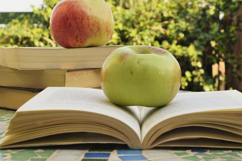 Apple Arranged Arrangement Authentic Moments Autumn Autumn Colors Book Books Close-up Focus On Foreground Food Food And Drink Freshness Freshness Fruit Healthy Eating Italy Knowledge Large Group Of Objects No People Organic Page Reading Reading & Relaxing Retail