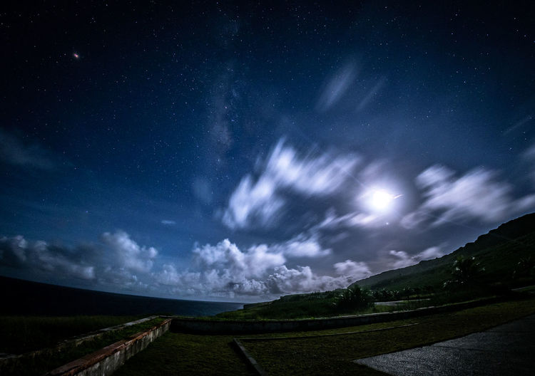 titian Sky Cloud - Sky Scenics - Nature Night Tranquil Scene Beauty In Nature Tranquility Star - Space Direction Nature Road Land Space Landscape No People Astronomy Field The Way Forward Environment Non-urban Scene Outdoors