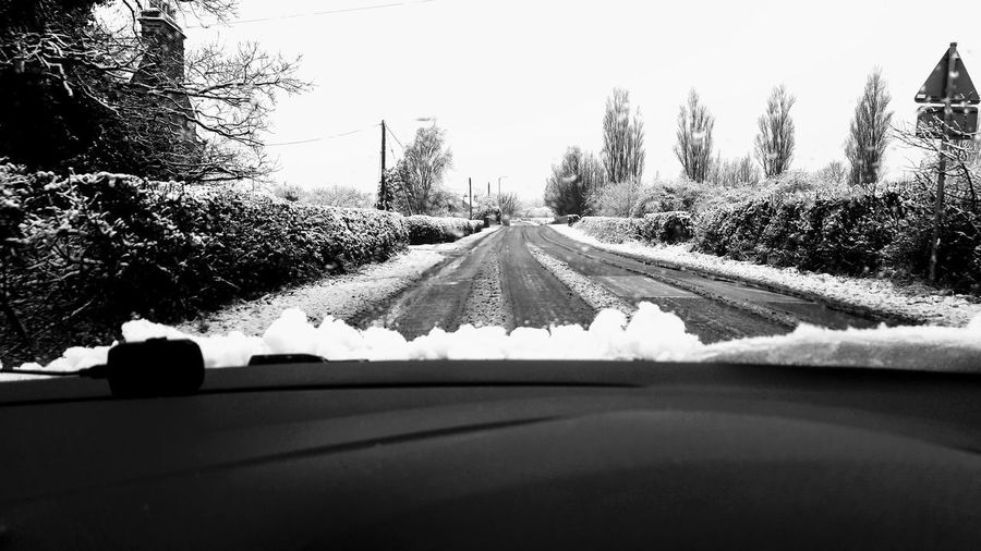 Hedge Snow Tree Winter Cold Cold Temperature Road Road Sign Driving Windscreen Windshield Dashboard Country Lane Countryside Blackandwhite Blackandwhite Photography Weather Condition Empty Road